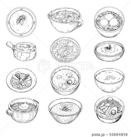 Set of different soups. Vector illustration 50664856