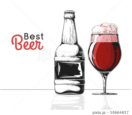 Bottle of beer. Glass with beer. Best beer. 50664857