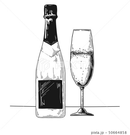 Bottle of champagne and glass. Vector 50664858