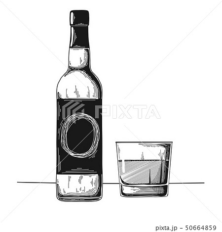 Bottle with alcohol and glass. Vector 50664859