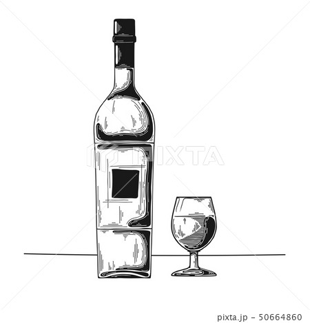 Bottle with alcohol and glass. Vector 50664860