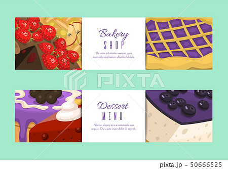 Cake shop menu banners or cards vector illustration. Chocolate and fruity desserts for cake shop 50666525