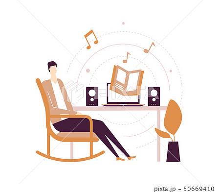 Listening to audiobooks - flat design style illustration 50669410