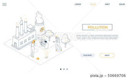 Air pollution - line design style isometric web banner 50669706