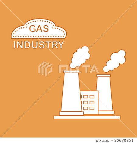 Gas processing plant with smoking chimneys 50670851