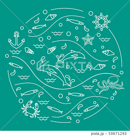 dolphins, octopus, fish, anchor, helm, waves, 50671293
