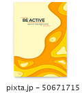 Dynamic papercut 3D poster. Yellow liquid wavy 50671715