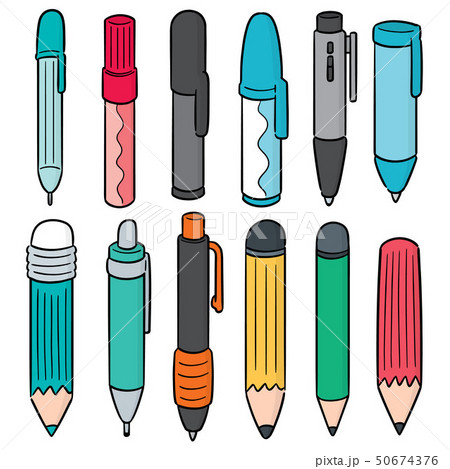 vector set of pen and pencil 50674376