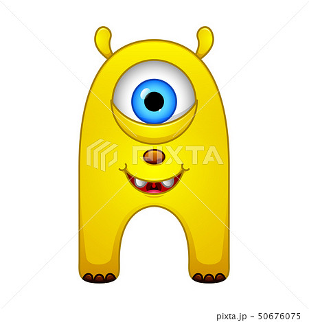 Cute little yellow cartoon monster isolated 50676075