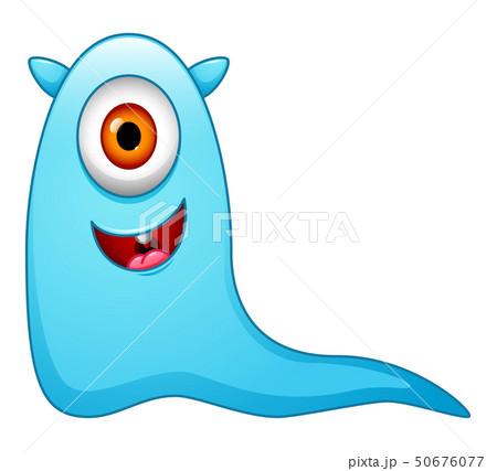 Cute little blue cartoon monster isolated 50676077