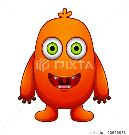 Cute little red cartoon monster isolated 50676078