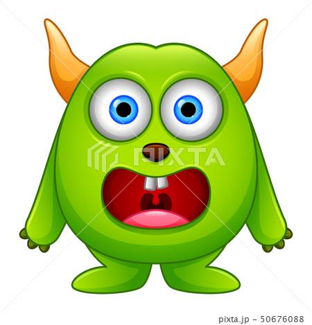 Cute little green cartoon monster isolated 50676088