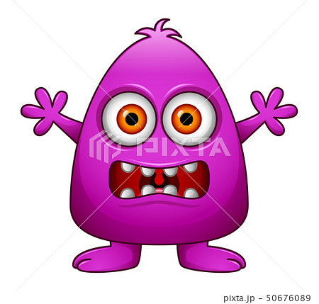 Cute little purple cartoon monster isolated 50676089