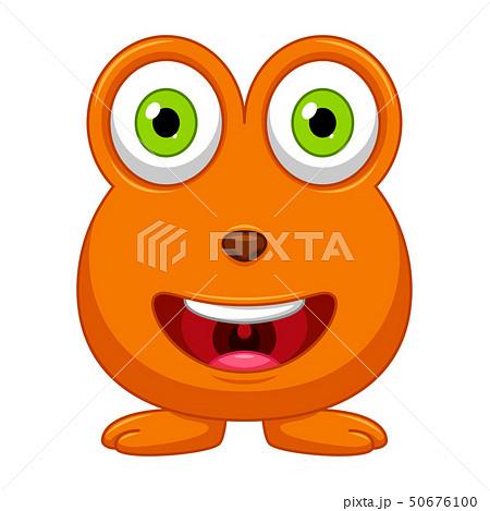 Cute little orange cartoon monster isolated 50676100