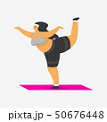 Yoga mat for fitness. Girl Plus Size. Health sport in club. Fat Woman doing exercises, weight loss 50676448