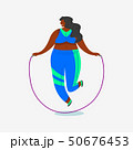 Jump rope for fitness. Girl Plus Size. Health sport in club. Fat Woman doing exercises, loses weight 50676453
