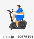 Exercise bike for fitness. Girl Plus Size. Health sport in club. Fat Woman doing exercises, loses 50676454