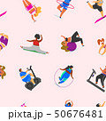 Fitness girls Plus Size seamless pattern. Health sport in club. Fat Woman doing exercises, loses 50676481