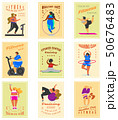 Fitness girls Plus Size for banners, posters, backgrounds. Health sport in club. Set of badges. Fat 50676483