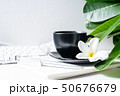 Coffee mug black with flower and leaves on  50676679