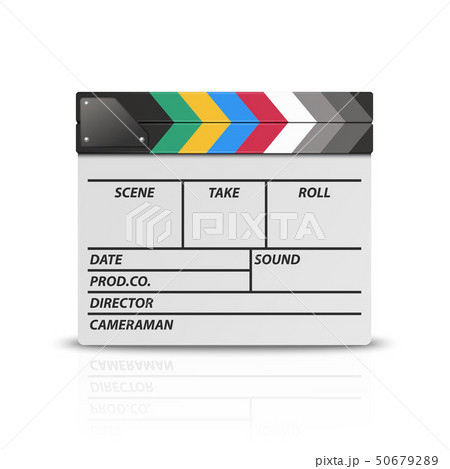 Vector 3d Realistic Blank Closed Movie Film Clap Board Icon Closeup Isolated on White Background 50679289