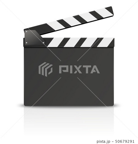 Vector 3d Realistic Blank Opened Movie Film Clap Board Icon Closeup Isolated on White Background 50679291
