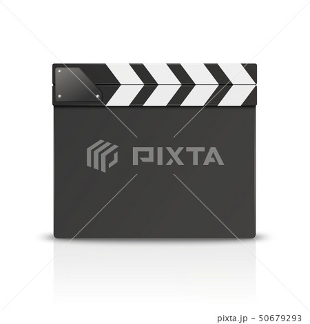 Vector 3d Realistic Blank Closed Movie Film Clap Board Icon Closeup Isolated on White Background 50679293