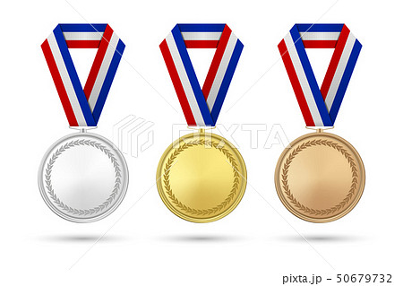 Vector 3d Realistic Gold, Silver and Bronze Award Medal Icon Set with Color Ribbons Closeup Isolated 50679732