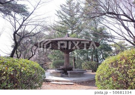 群馬県高崎市、観音公園の東屋、散歩道の休憩所、パーゴラ 50681334