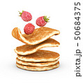 3d Illustration of pancake with fresh raspberries isolated on white background 50684375
