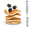3d Illustration of pancake with fresh blackberry isolated on white background 50684376