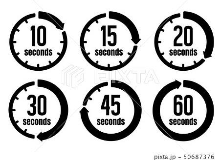 秒 / 時間・タイマー・ストップウォッチ アイコン セット (10秒・30秒 ...