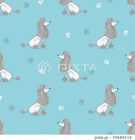 Seamless pattern with cute watercolor poodles dogs 50689519
