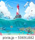vector cartoon Lighthouse sea clipart 50691882