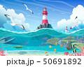 vector cartoon Lighthouse sea clipart 50691892
