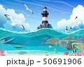 vector cartoon Lighthouse sea clipart 50691906