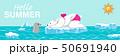 """シロクマとアザラシ 夏 北極海 - 文字付き """"Hello Summer"""" 横長 50691940"""