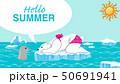 """シロクマとアザラシ 夏 北極海 - 文字付き """"Hello Summer"""" 50691941"""
