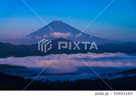 (神奈川県)箱根大観山から望む、雲海の芦ノ湖と富士山 夜明け 50693164