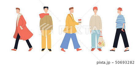 Group of stylish cartoon man characters wearing casual clothes isolated on white background 50693282