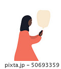Beautiful african-american woman in a hijab with a smartphone, flat vector illustration on white 50693359