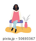 Beautiful african-american woman sitting on a bench chair, vector illustration on white background 50693367