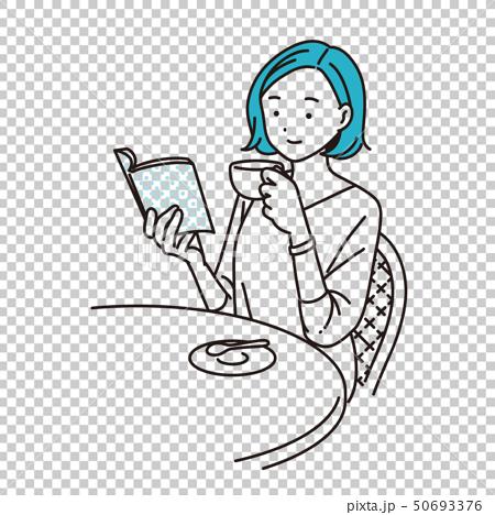 カフェで読書する女性 50693376
