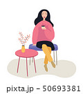 Beautiful woman sitting on the chair at coffee shop while drinking , vector illustration on white 50693381