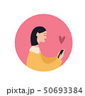 Beautiful caucasian girl with a smartphone and heart symbol, flat vector illustration on fuchsia 50693384
