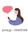 Beautiful caucasian woman with a smartphone, flat vector illustration on white background 50693386