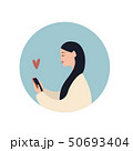 Beautiful caucasian girl with a smartphone and heart symbol, flat vector illustration on blue 50693404