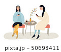 Two beautiful women talking friendly at coffee shop while drinking and eating desserts , vector 50693411