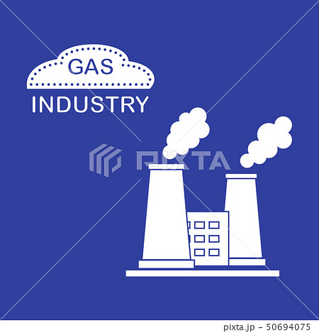 Gas processing plant with smoking chimneys 50694075
