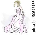 嫁 花嫁 ウェディングドレスのイラスト 50698466